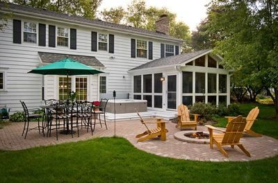Screened Porch With Deck Spa And Fire Pit   Pool And Spa Decks Photo  Gallery