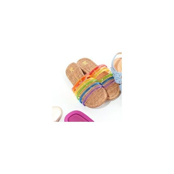 for you slides ❤ liked on Polyvore featuring shoes, sandals, rainbow footwear, rainbow sandals, cork footbed sandals, rainbow shoes and going out shoes