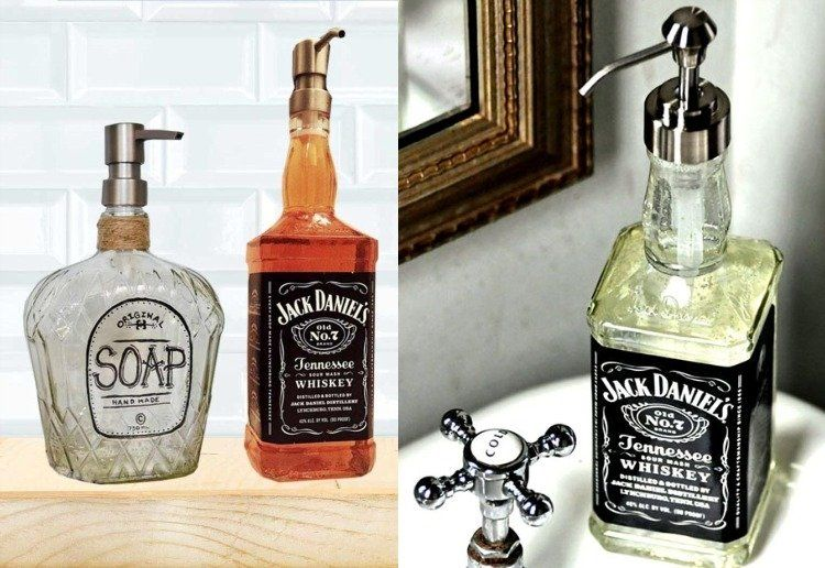 aus Wasserflasche einen originellen Seifespender basteln #hausinterieurs