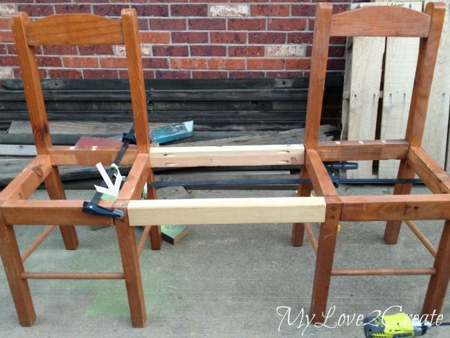 using scrap wood to make two chairs into a bench bhg 39 s. Black Bedroom Furniture Sets. Home Design Ideas