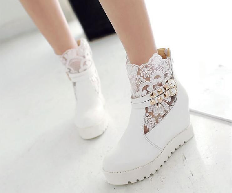 Fall Winter Lace Wedding Shoes Bridal Boots White Sheer Ankle With Buckle Cheap Girl Casual