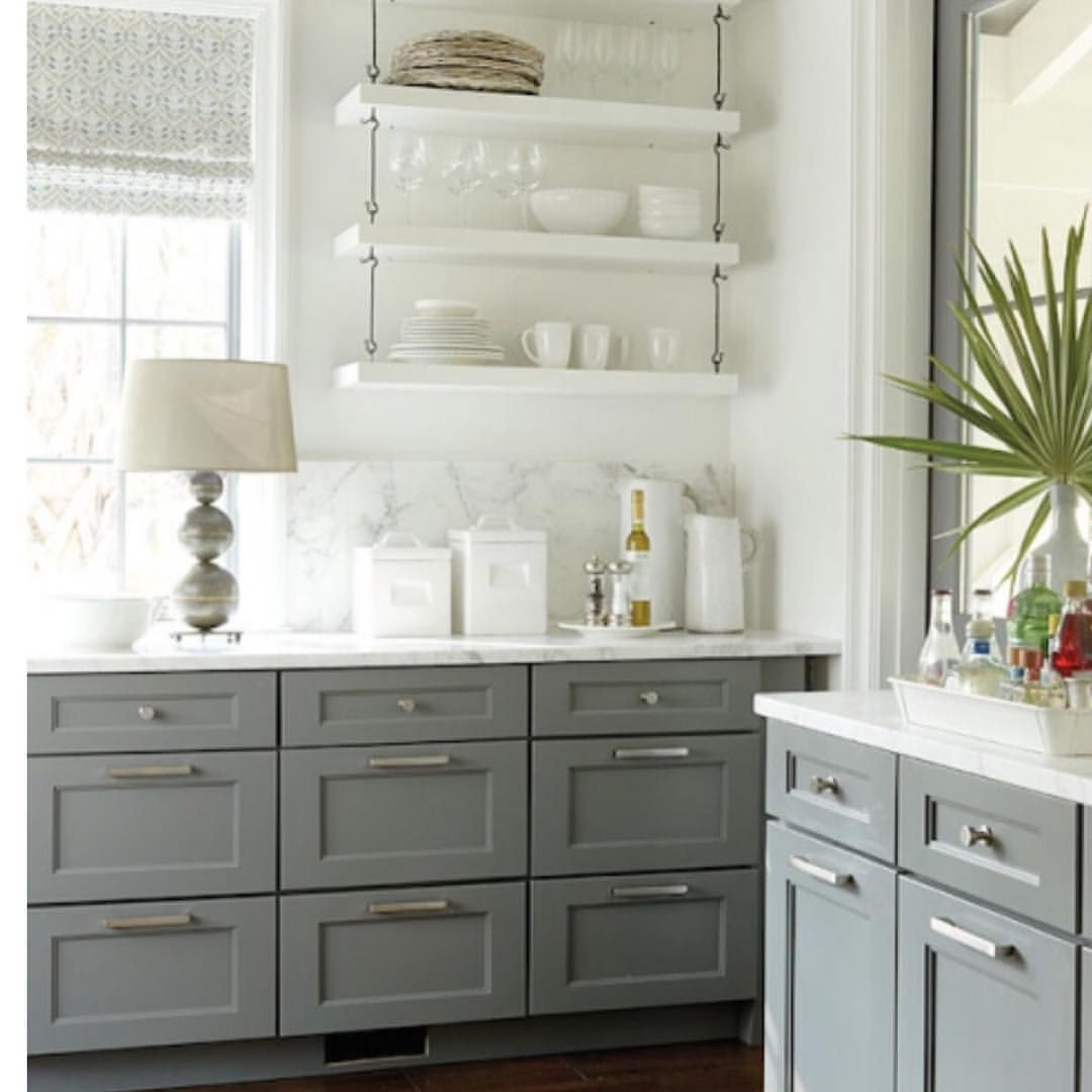 I Just Love The Open Shelving Instead Of Upper Cabinets And Why Not Put A Lamp On Your Kitchen Counter To Grey Kitchen Cabinets Kitchen Design Trendy Kitchen