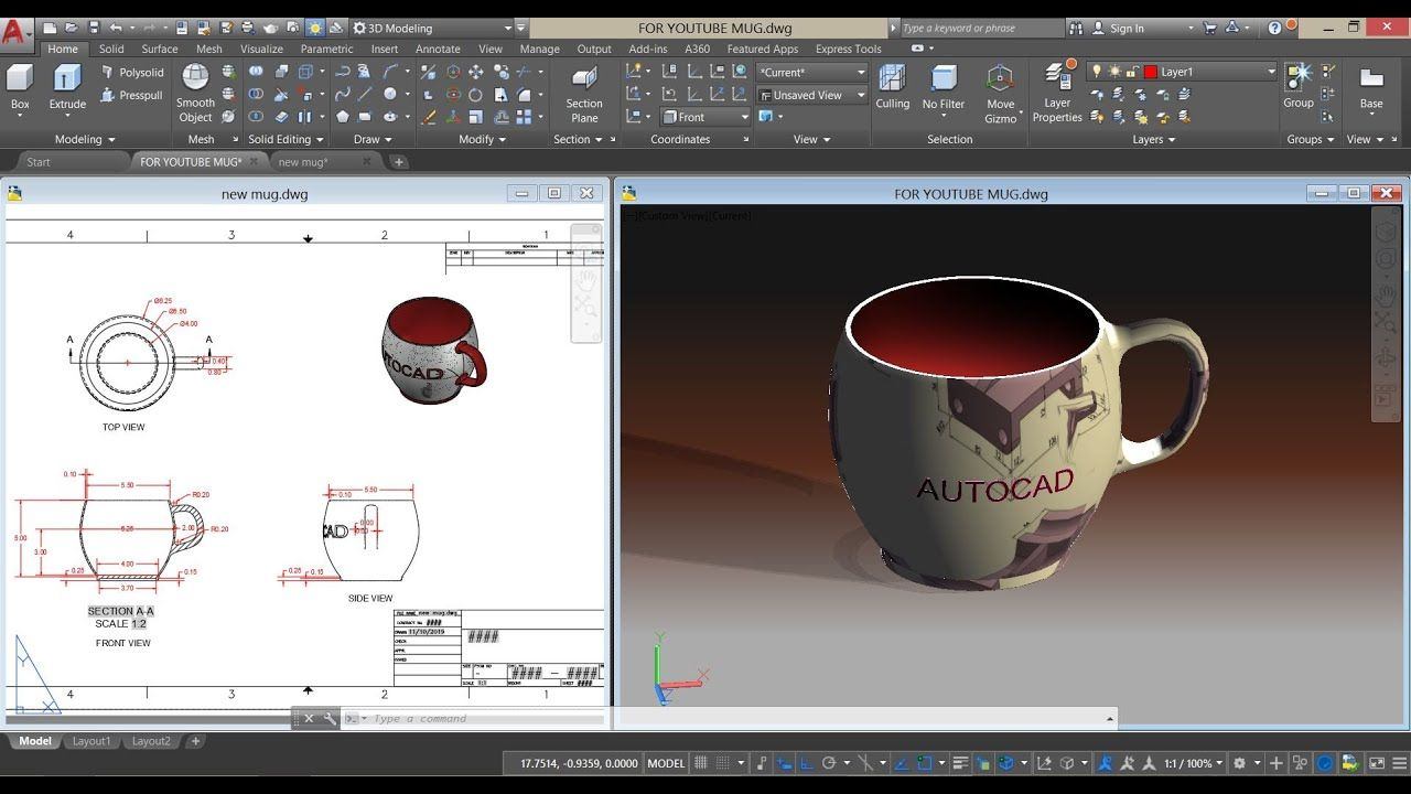 Draw A Coffee Cup Autocad 3d Apply Texture Embossed Text Autocad Autocad Tutorial Learn Autocad