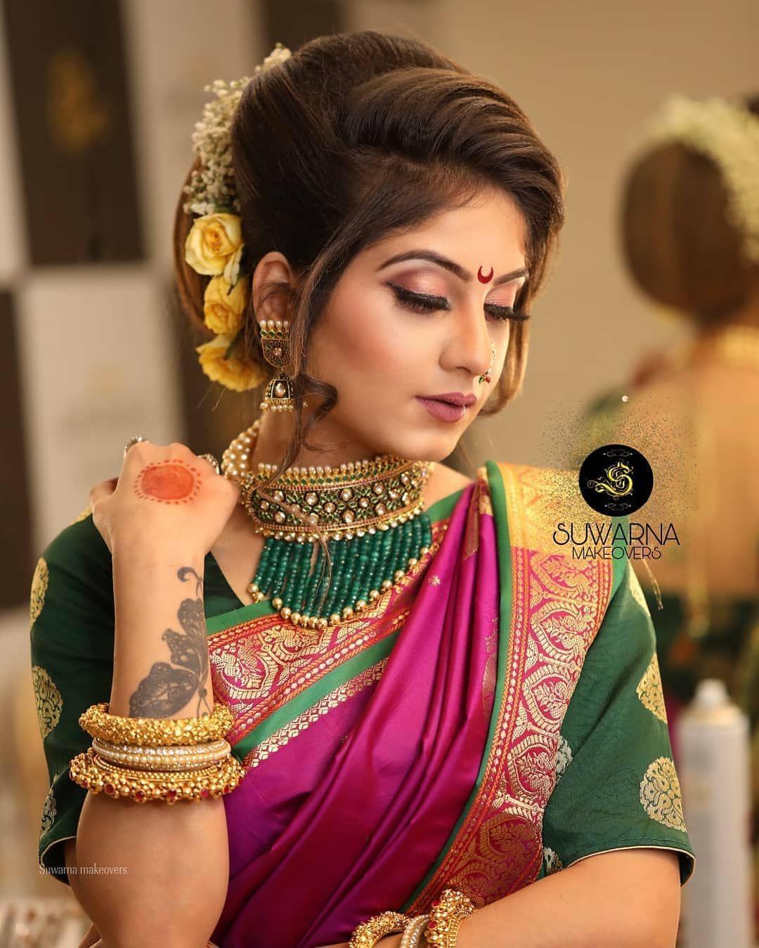 Saree Hairstyle: Image May Contain: 1 Person, Closeup