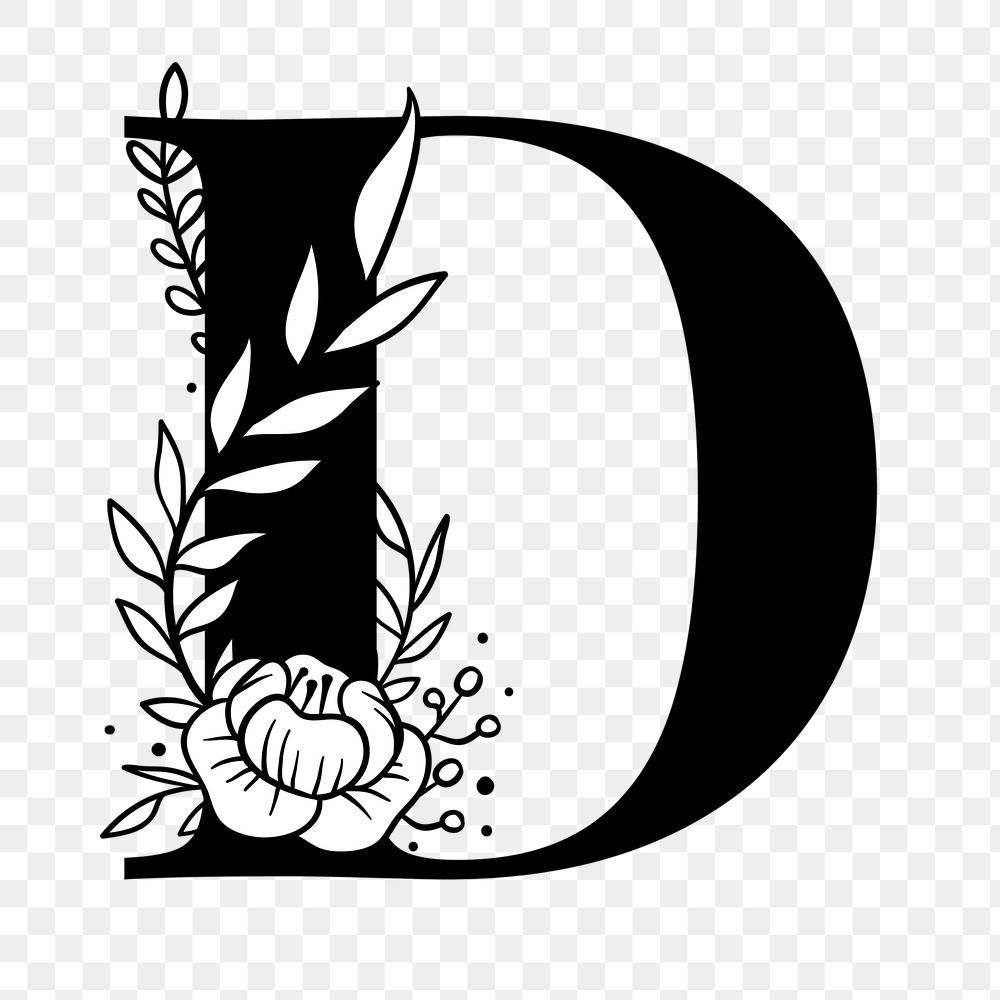 Png Letter D Floral Font Typography Free Image By Rawpixel Com Tvzsu Floral Font Lettering Alphabet Fonts Floral Logo