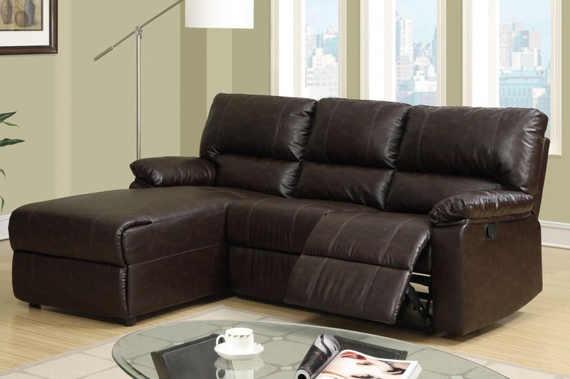 Small Coffee Leather Reclining Sectional Sofa Set Recliner Left