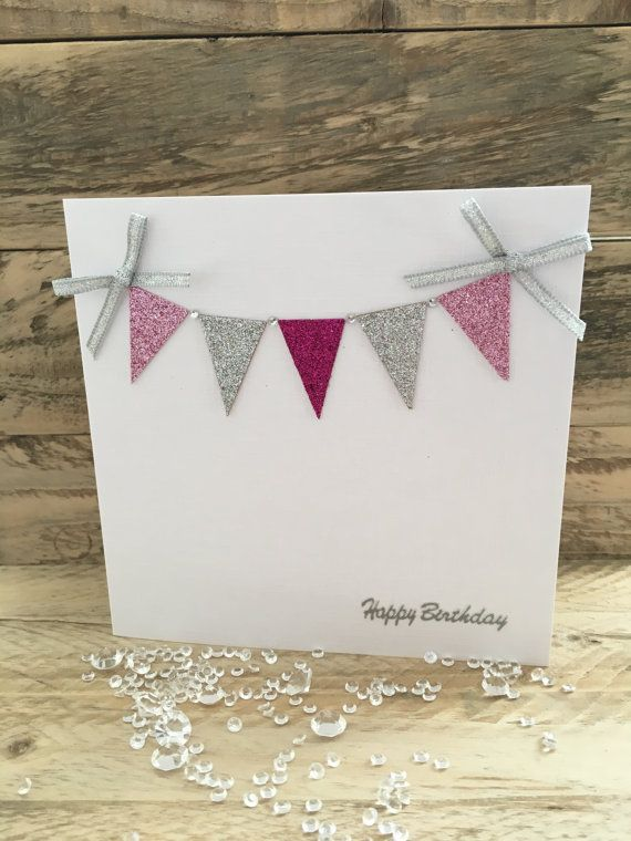 Handmade Birthday Card Bunting Glitter By ButterflyBoxCards Cards For Friends Niece