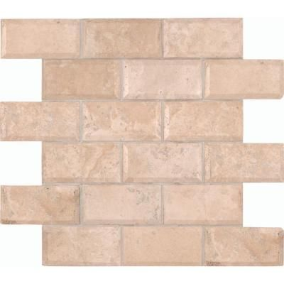 Ms International Tuscany Ivory 12 In X 10 Mm Honed Beveled Travertine Mesh Mounted Mosaic At The Home Depot Subway Tile Ish