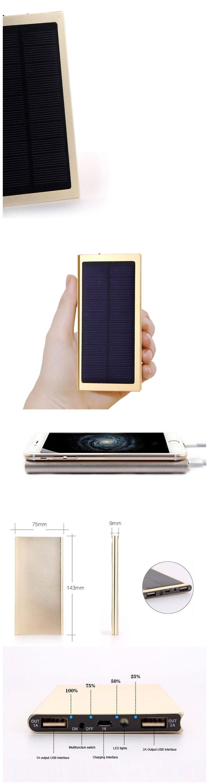 new 10000mah portable solar power bank powerbank backup power supply