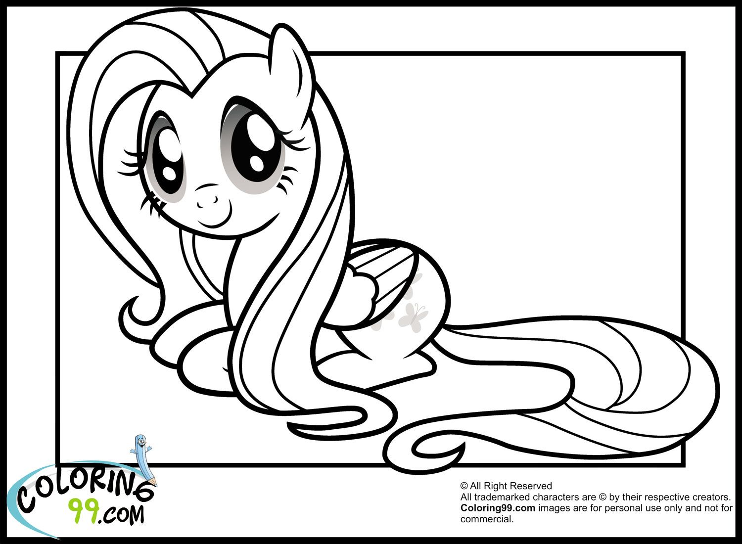 Free Fluttershy Coloring Pages 1500x1100
