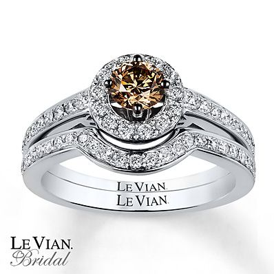 Le Vian Bridal Set 7 8 Ct Tw Diamonds 14k Vanilla Gold Diamond Wedding Sets Chocolate Diamond Wedding Rings Engagement Rings Bridal Sets