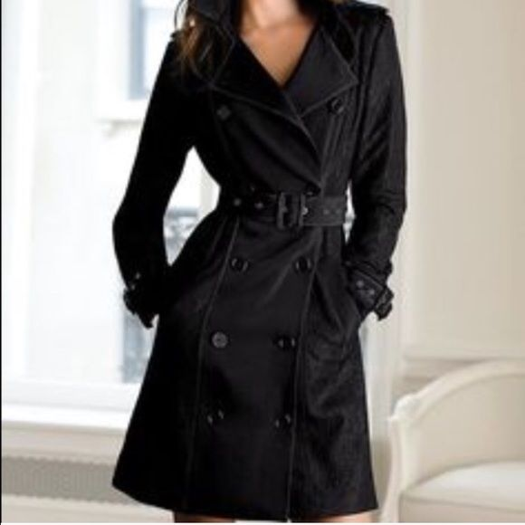 Black Victoria secret trench coat Black Victoria's Secret trench coat. In excellent condition. Size 8. Pictures in tan to show detail but the jacket is in black. Victoria's Secret Jackets & Coats Trench Coats