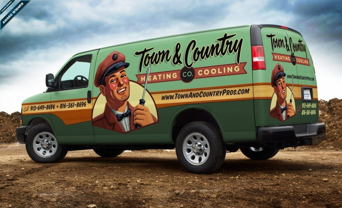 Logo Design Town Country Heating And Cooling Co Graphic D Sign Car Wrap Car Wrap Design Cool Trucks
