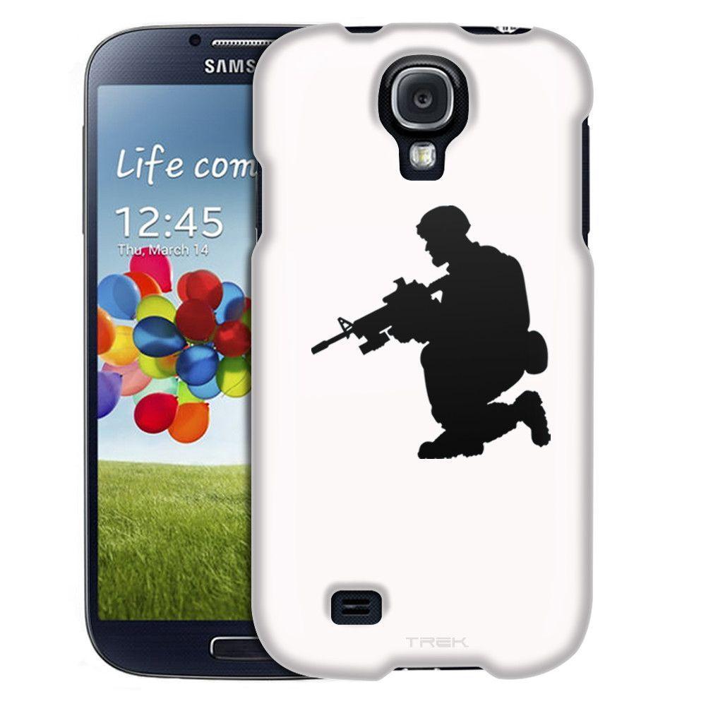 Samsung Galaxy S4 Silhouette Soldier on White Slim Case