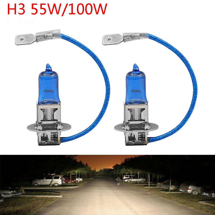 2pcs 12v 55w 100w H3 6000k Headlight Lamp Dark Blue Glass Replacement Car Halogen Light External Light Car Lights External Lighting Glass Replacement