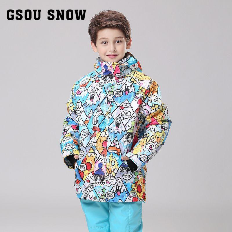 47373f30b9 Gsou Snowchildren s ski suit boy teenagers outdoor wind proof and ...