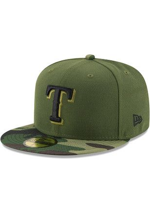 reputable site 5db9b 1e04e Texas Rangers New Era Mens Green 2017 Memorial Day AC 59FIFTY Fitted Hat