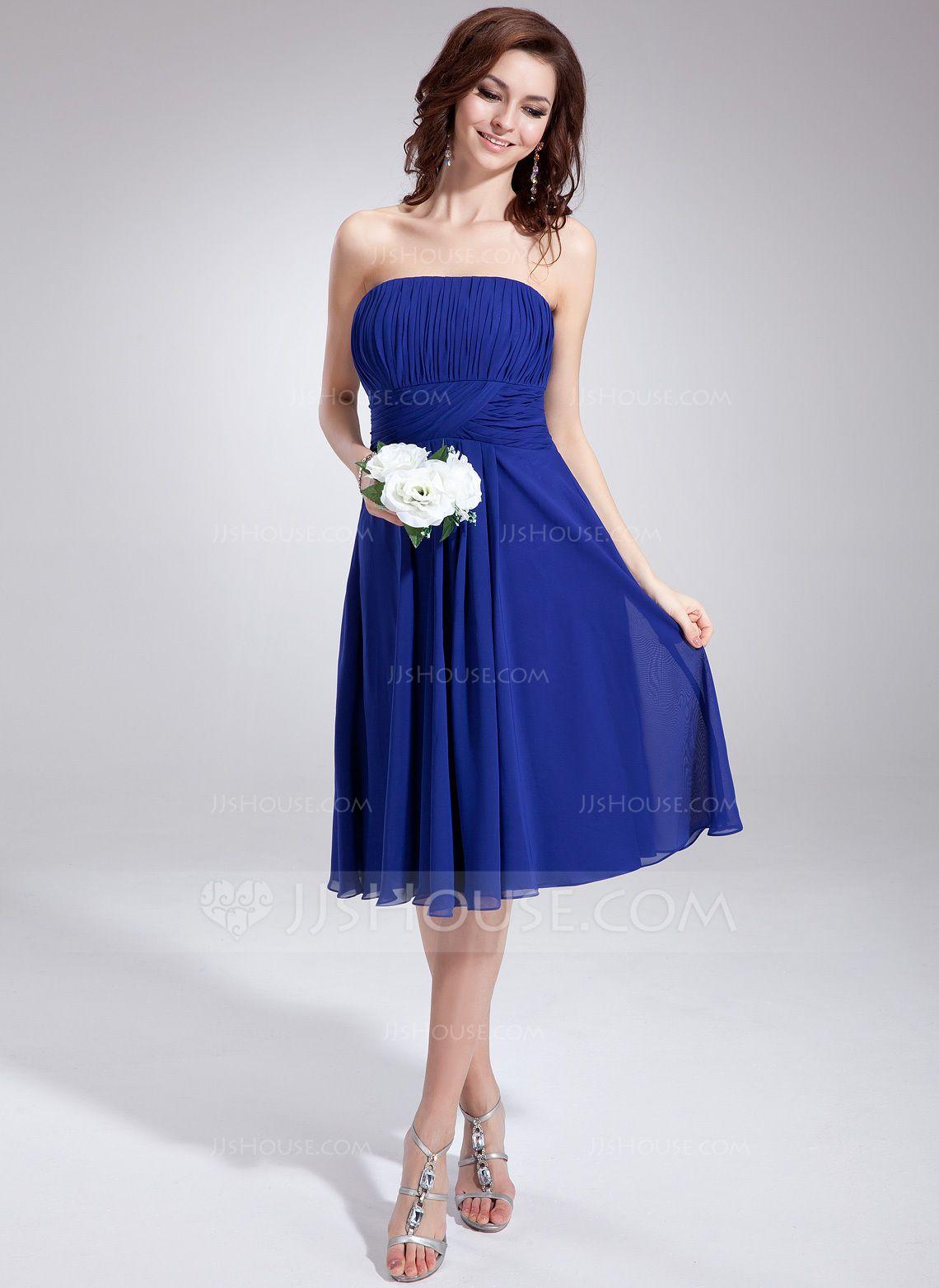 ALine/Princess Strapless KneeLength Chiffon Bridesmaid