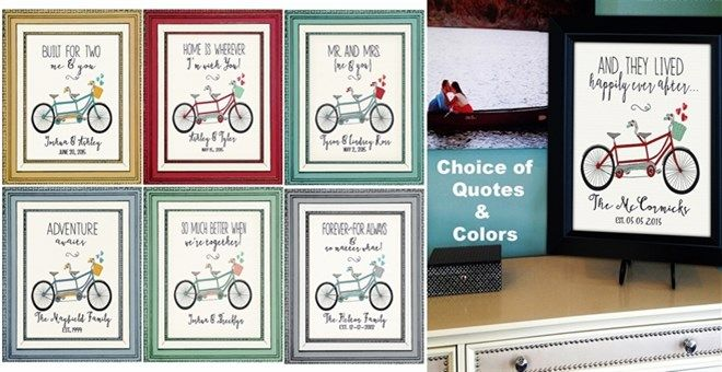 $6.99 Personalized 8x10 tandem bicycle art print, trending now & forever!   The perfect fun accessory to display at your Wedding, as an Anniversary  gift, or as Family name art on your collage or gallery wall.  Unique art with significant meaning, in your choice  of quotes and colors.QUOTES:Mr. & MrsDistanceAdventure AwaitsBuilt For TwoHappily Ever AfterTrue Love ForeverBetter TogetherJourneyHomeCOLORS:French Blue & SunshineAqua & CherryAqua
