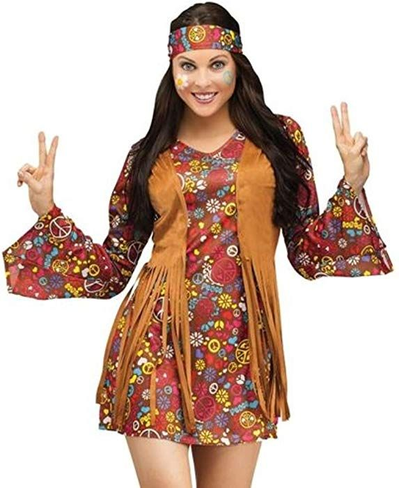 2289fe78fbb1 Papootz Adult 60s 70s Groovy Lady Hippy Flower Power Womens Ladies Fancy  Dress Costume Size 16