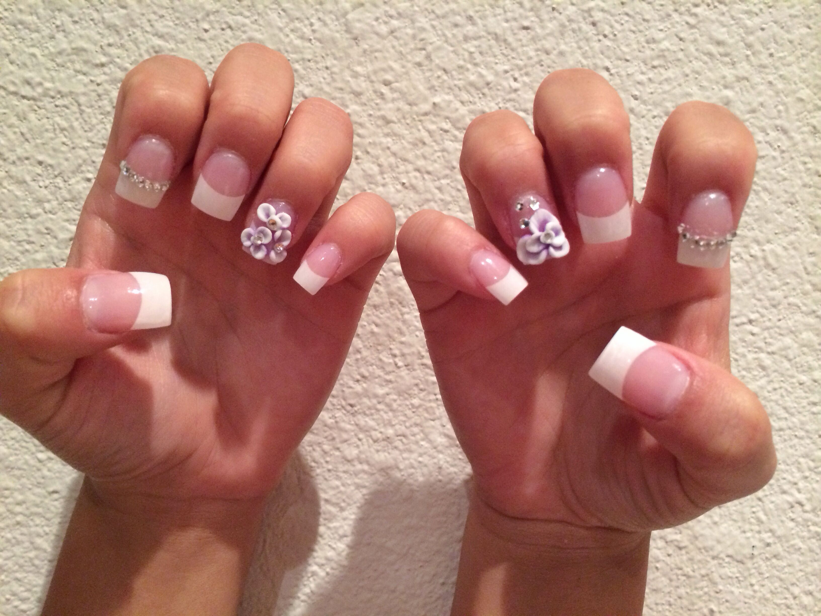 French full set with 3D flowers and rhinestone accents! Done at ...