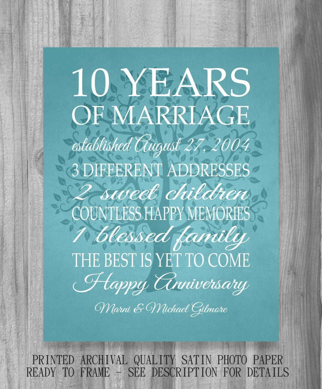 10 Year Anniversary Gift Canvas Print Wedding Anniversary