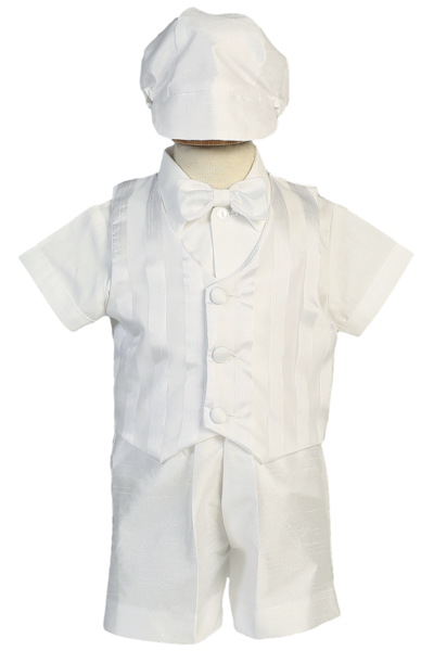 Baby Boy Christening Baptism white Outfit//5 piece/> Pants/>Vest/>Sizes XS-XL
