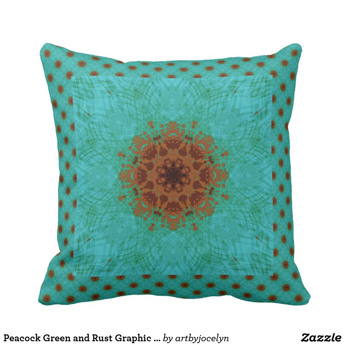 Peacock Green And Rust Graphic Floral Mandala Outdoor