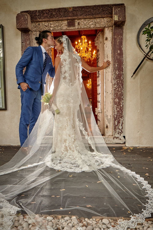 Flower Lace Mantilla Cathedral Wedding Veil, Alencon Lace