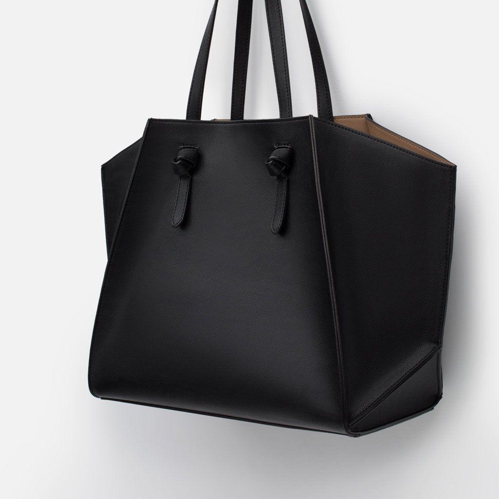 Mini leather tote bag zara - Bag Geometric Tote Bag Shopper From Zara