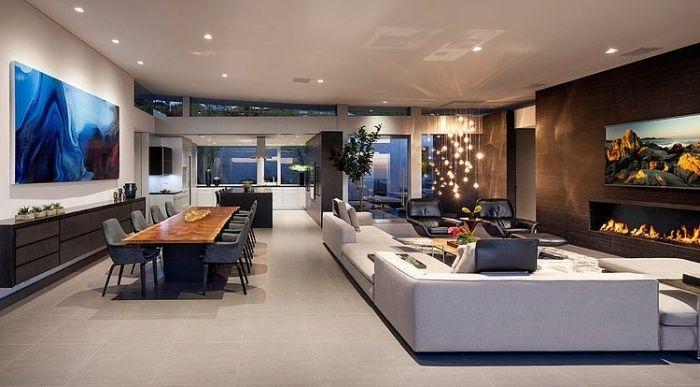 Wohnzimmer Offen Gestaltet Mit Essbereich Berdimensionale Sitzlandschaft Und Einem Ethanol Kamin