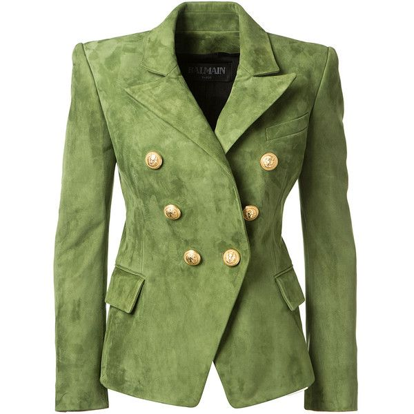 Balmain Olive Green Suede Jacket ($3,000) ❤ liked on Polyvore featuring outerwear, jackets, suede leather jacket, olive jacket, lapel jacket, suede jackets and button jacket