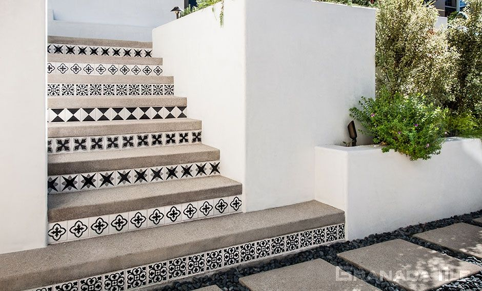 Cement Tile Patterns Outdoor Stairs
