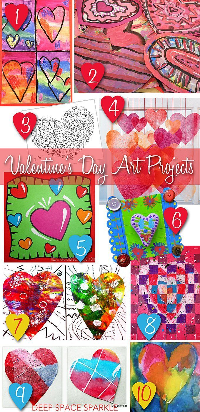 10 Valentine's Day Art projects for kids! A colorful roundup of projects and activities for your classroom!