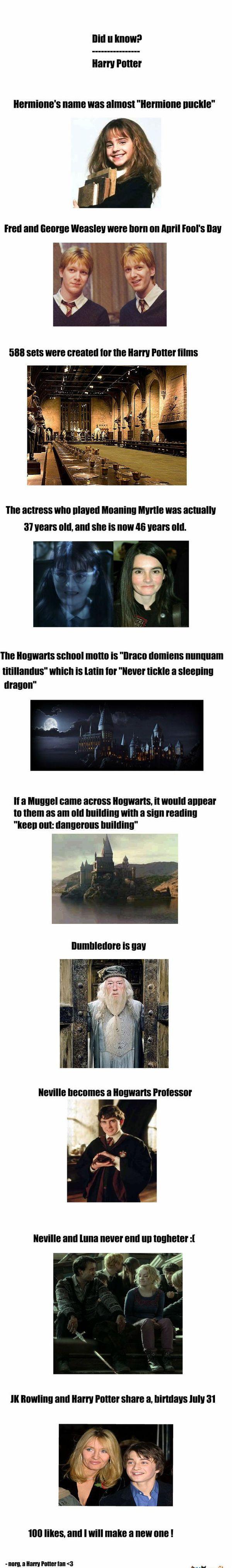 Did U Know? Harry Potter