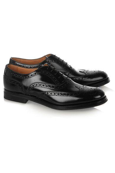 The Burwood Glossed-leather Brogues - Black Churchs zRVmUi