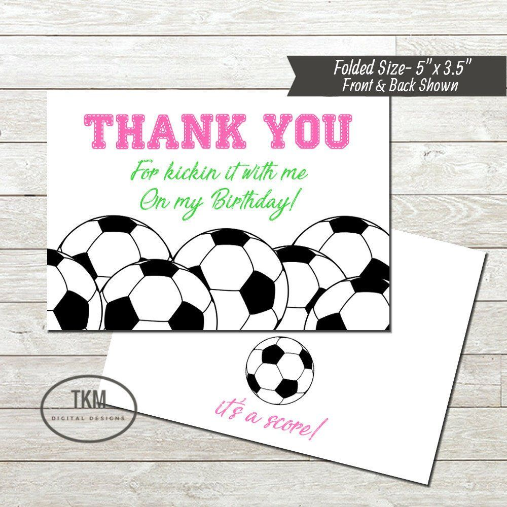 Folded Soccer Invitation Matching Thank You Card Soccer Etsy In 2021 Soccer Theme Parties Thank You Cards Soccer Birthday