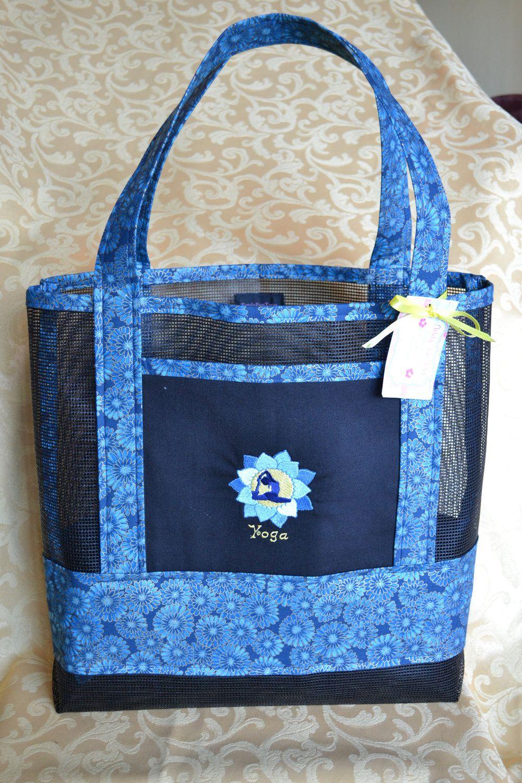 Tote Bag Yoga Lotus Flower Fabric And Vinyl Mesh Bags