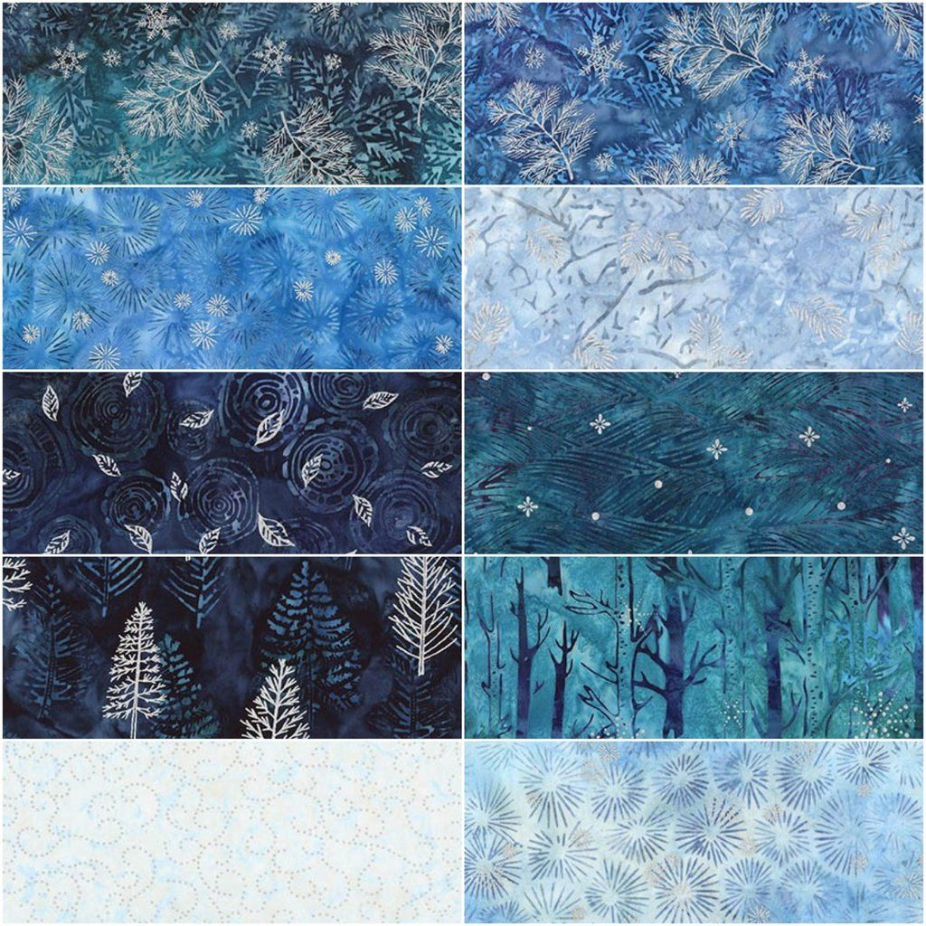Northwoods 7-Winter by Lunn Studios; 10 Fat Qtrs Artisan Batiks Robert Kaufma