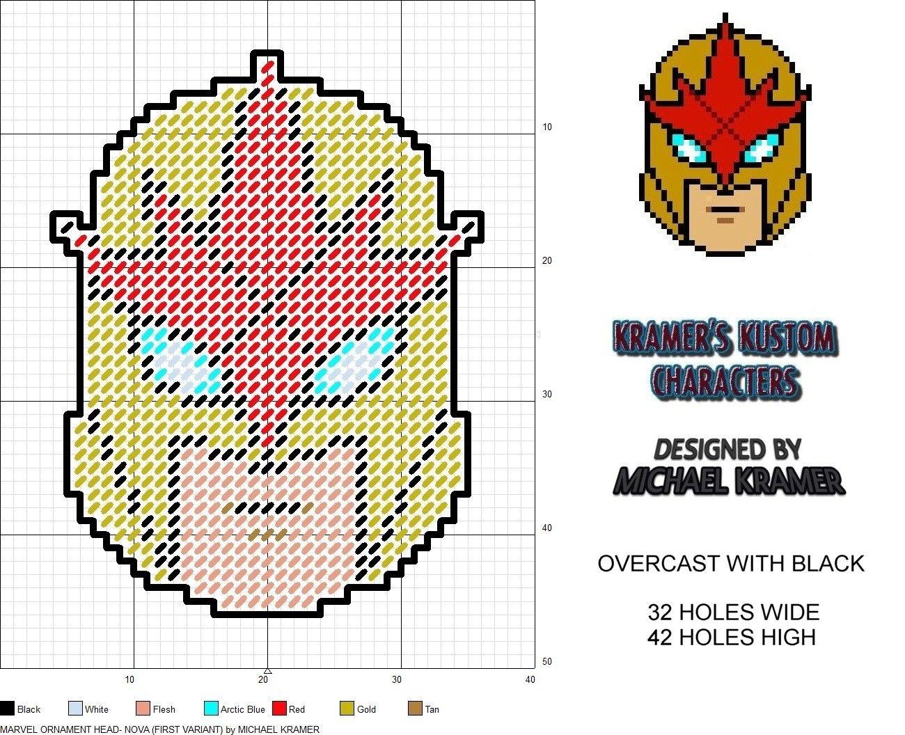 Marvel Ornament Head- Nova (1st Variant) plastic canvas pattern by ...