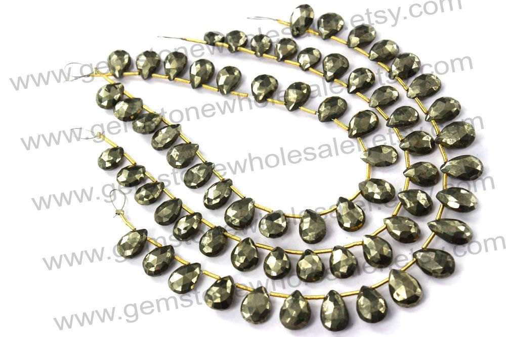 Pyrite Faceted Pear (Quality A) (Pack of 2 Strands) / 7x8.5 to 8x12 mm / 16 to 18 Grms / 18 cm / PY-017 by GemstoneWholesaler on Etsy