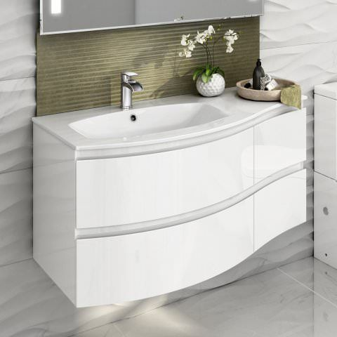 1040mm Amelie High Gloss White Curved Vanity Unit Soak Com Small Bathroom Vanities Wall Hung Vanity Vanity Units