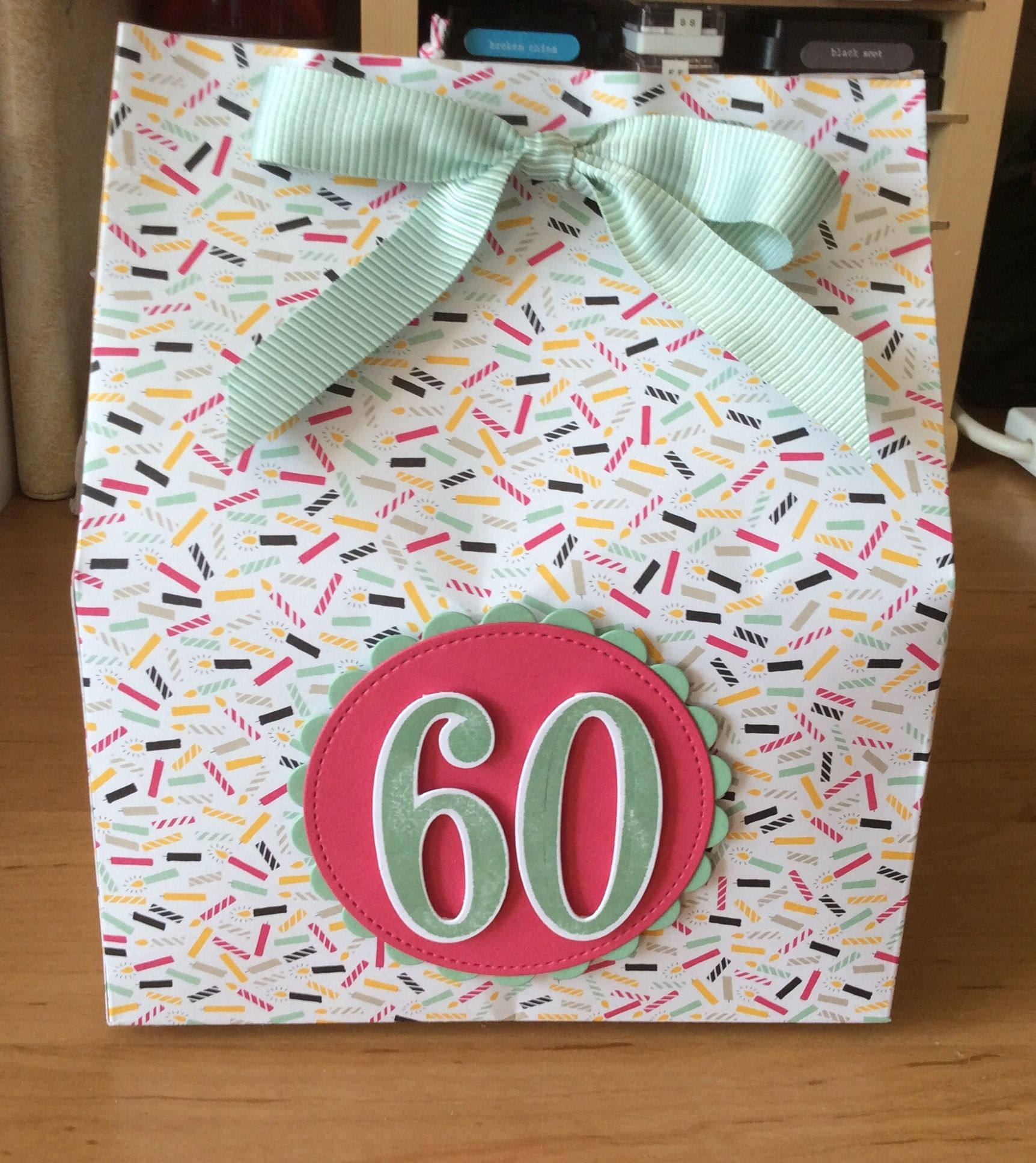 60th birthday gift bag using stampin up its my party dsp and number 60th birthday gift bag using stampin up its my party dsp and number of years bundle negle Gallery