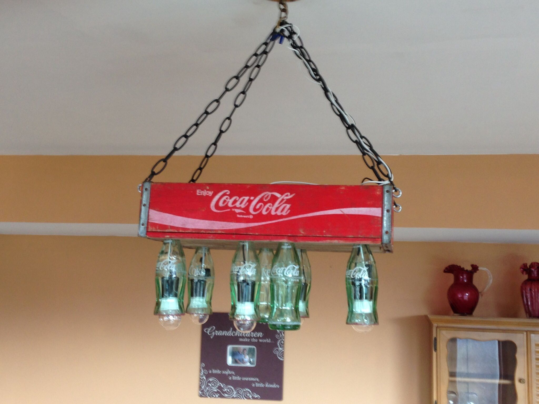 Old coco cola crate and bottles made into light fixture for over the old coco cola crate and bottles made into light fixture for over the pool table arubaitofo Image collections
