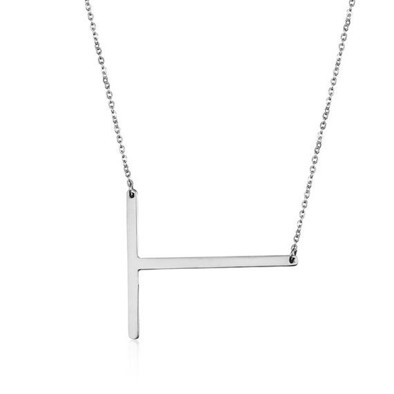 Letter Necklace A Silver Tone//Rose Gold Plated Stainless Steel Necklace