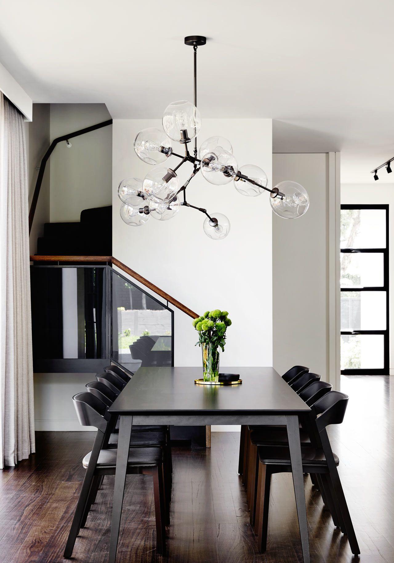 A Contemporary Monochromatic Home In Melbourne By Sisalla Interior Design Dining Room Design Dining Room Lighting Modern Dining Room