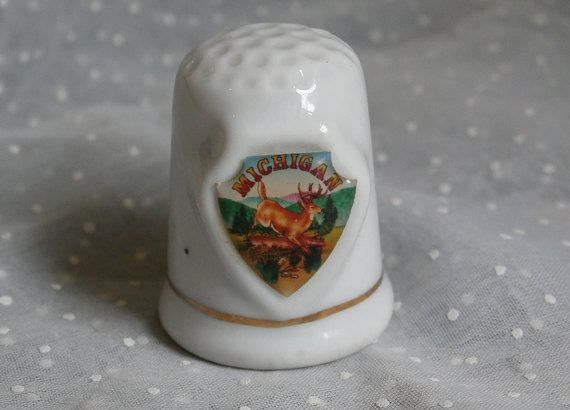 3f1cef13e5eb7 Michigan Souvenir Thimble Vintage Heavy China or Porcelain
