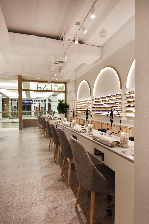 Contemporary Chic With Caesarstone Raw Concrete Salon Interior Design Spa Interior Design Hair Salon Interior