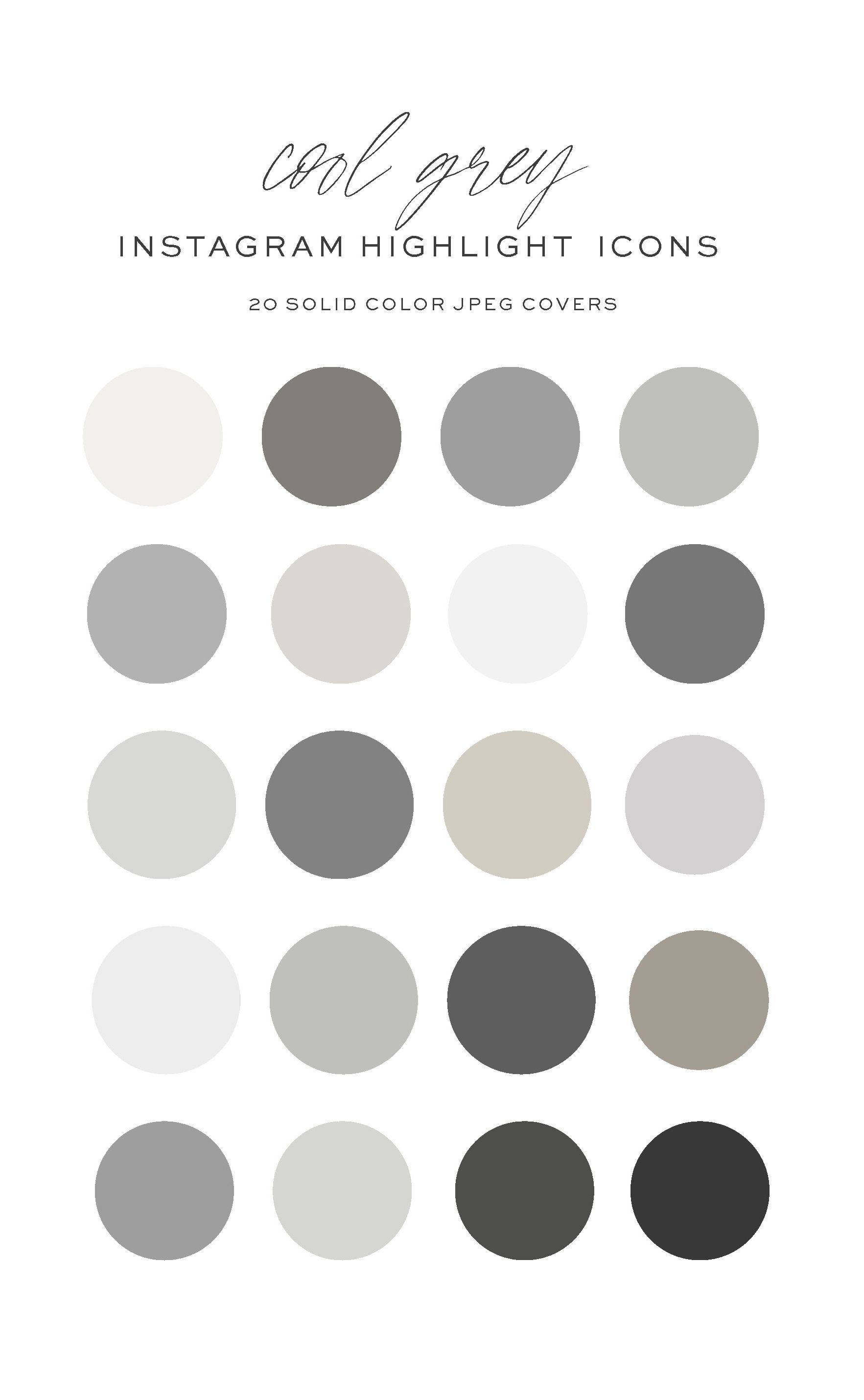 Cool Grey Solid Color Instagram Highlight Icons