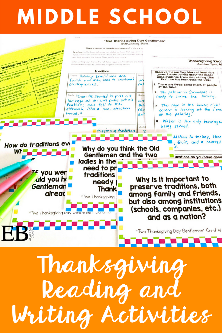 Workbooks thanksgiving reading comprehension worksheets middle school : Thanksgiving Short Story Unit for Middle School & High School ...